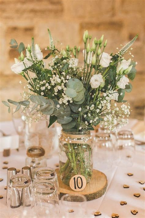 Jar Flowers Centrepiece Table Log Greenery Foliage Rustic