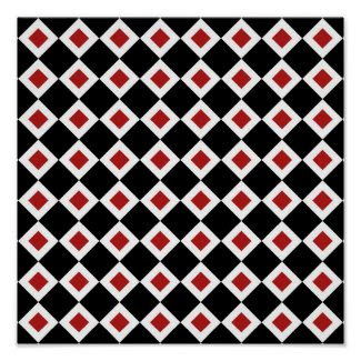 Black, White, Red Diamond Pattern Poster
