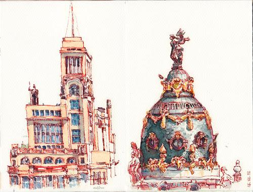 Círculo de Bellas artes y Cúpula edificio Metrópolis
