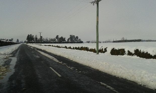 Snow on Old West Coast Road near Waddington in the Selywn District on Friday.