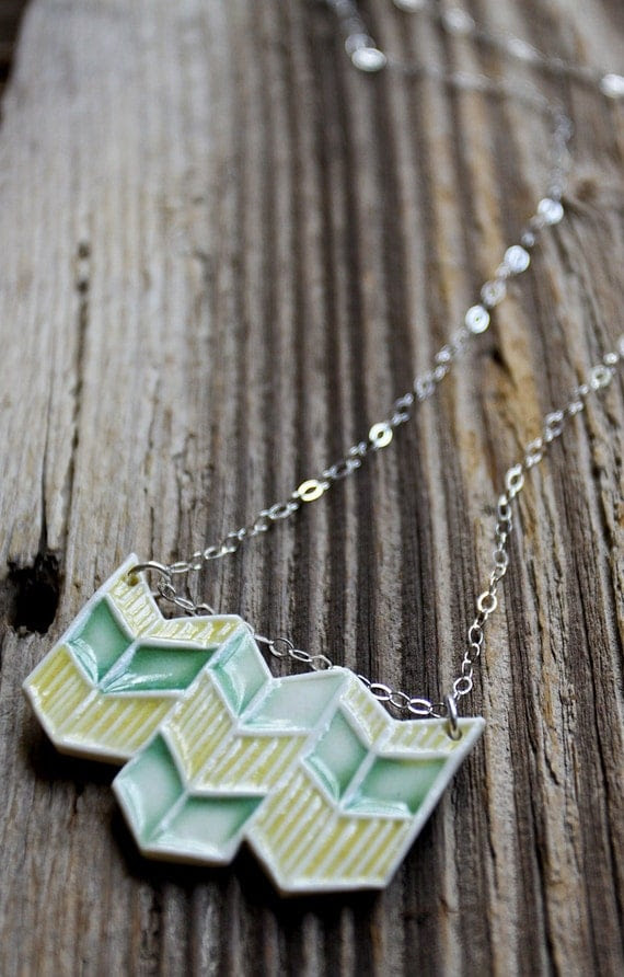 Yellow and Green Porcelain Chevron Necklace - Handmade Pottery