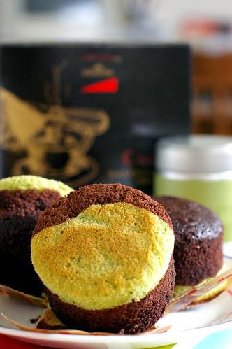 Chocolate and Matcha Cupcake