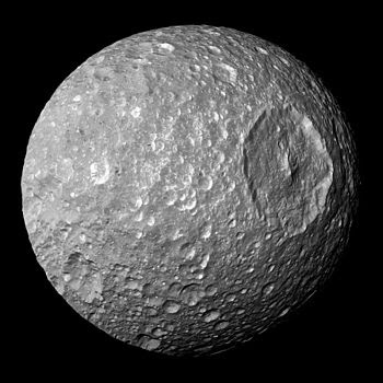 Mimas, as imaged by Cassini in 2005 (NASA)