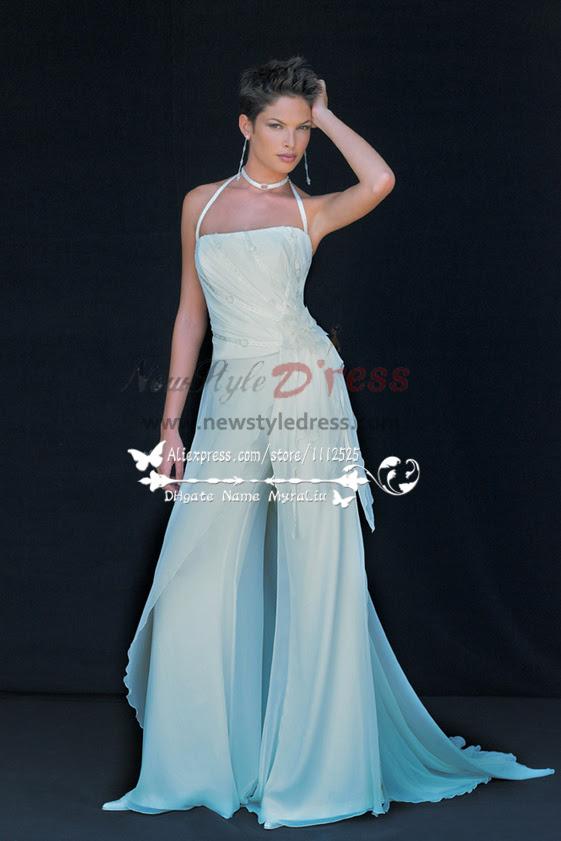 beach wedding wear white chiffon bridal jumpsuit low price
