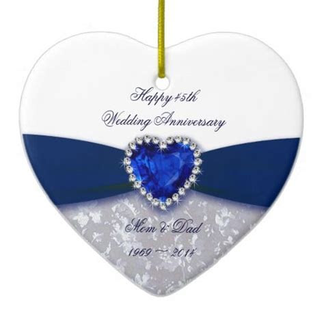Damask 45th Wedding Anniversary Ornament   Sapphire