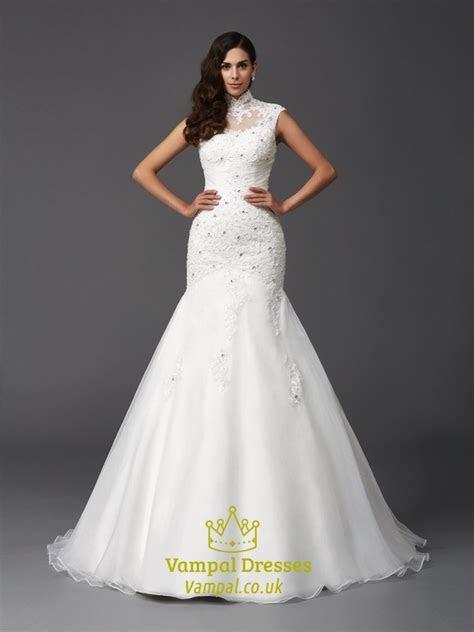 High Neck Cap Sleeve Mermaid Ball Gown Wedding Dress With