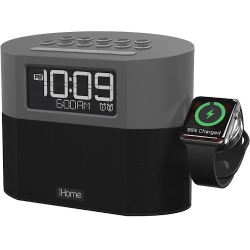 iHome Bluetooth Dual FM Alarm Clock Radio with Apple Watch Charging