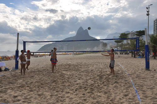 Mike Vondran playing beach volleyball, Ipanema Beach, Rio de Janeiro, Brazil January 3 2009.