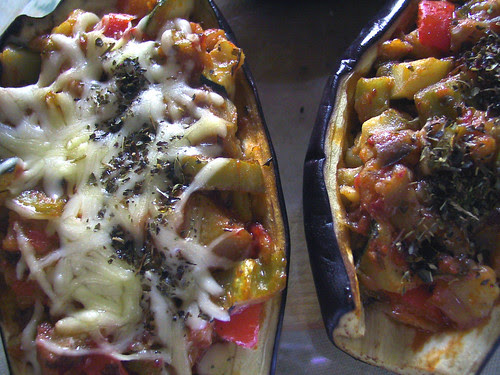 Aubergines with vegetables