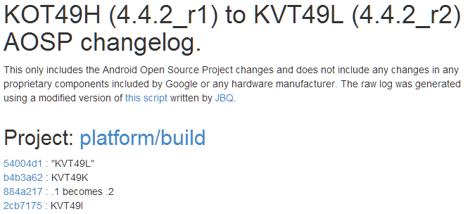Android 4.4.2_r2 (KVT49L) Shows Up In AOSP, Here's The Changelog