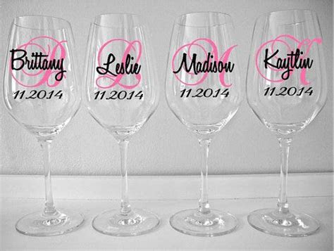 SINGLE DIY Wine Glass Decal Monogram With Name And Date