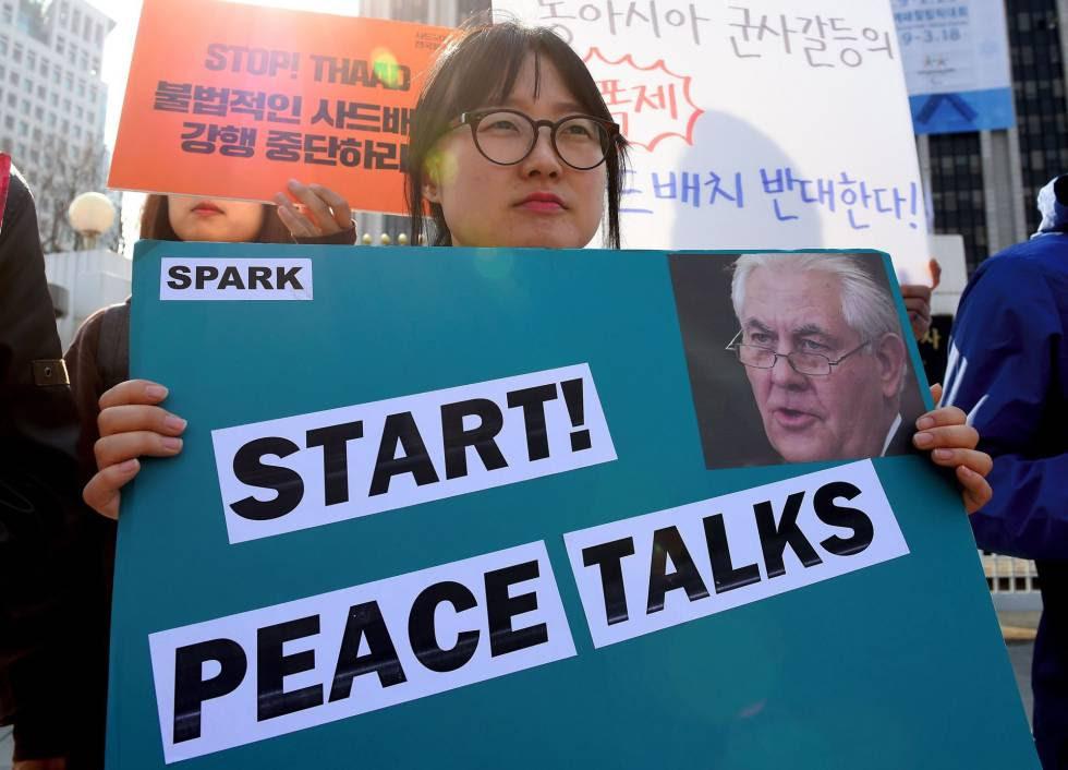 Manifestación en Corea del Sur para evitar una escalada bélica en la región.