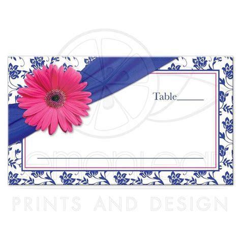 Wedding Place Card Pink Daisy Royal Blue Damask