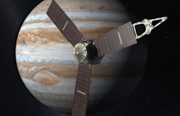 Imagem ilustrativa de Juno perto de Júpiter (Foto: Divulgação/Nasa)