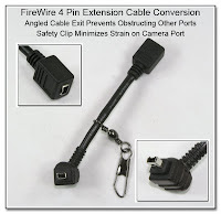 CP1068: FireWire 4 Pin Extension Cable Conversion - Angled Cable Exit Prevents Obstructing Other Ports, Safety Clip Minimizes Strain on the Camera Port