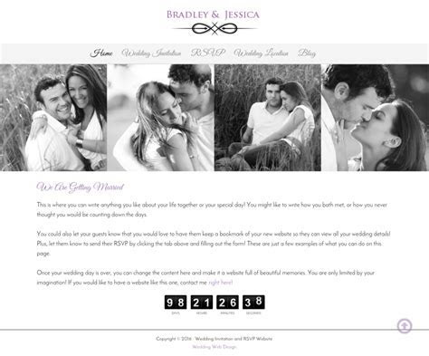 Wedding Website with Countdown timer to wedding day