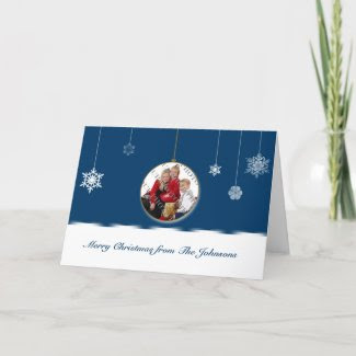 Blue and White Snowflake Ornament Photo card