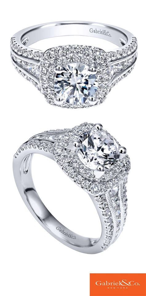 Love is in the details. The double halo engagement ring