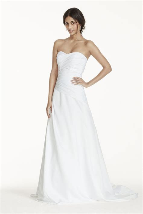 Satin Strapless A Line Drop Waist Wedding Dress   Ivory