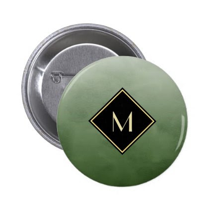 Elegant Brushed Green With Simple Gold Monogram 2 Inch Round Button
