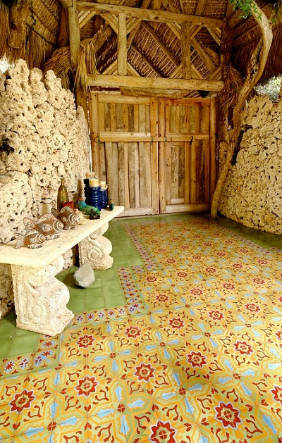 Cement Tile flooring at the entry to Oscar Imbert's Tree House