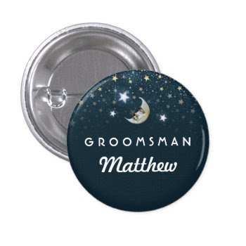 Teal White Gold Moon & Stars Groomsman 1 Inch Round Button by juliea2010 at Zazzle