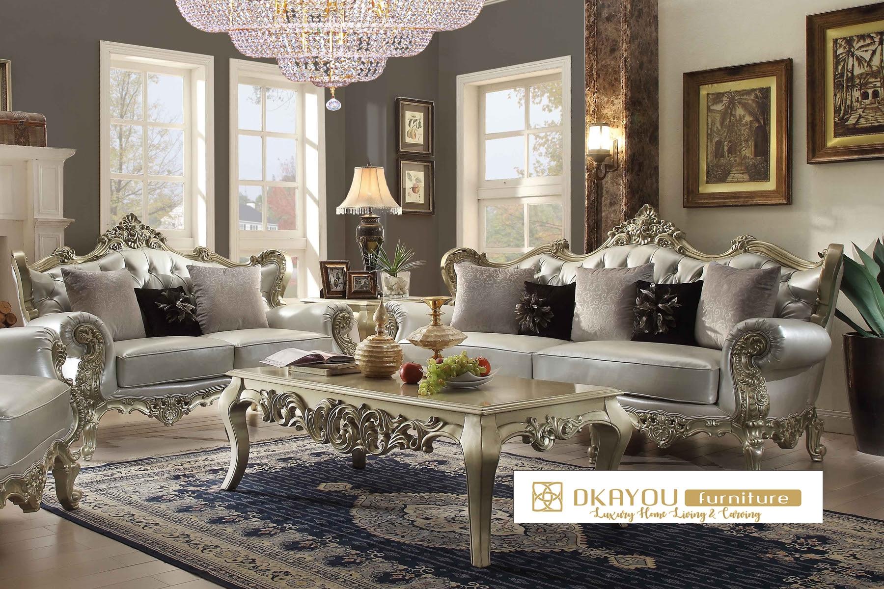 Set Kursi Sofa Ruang Tamu Model Klasik Mewah Terbaru Dkayou
