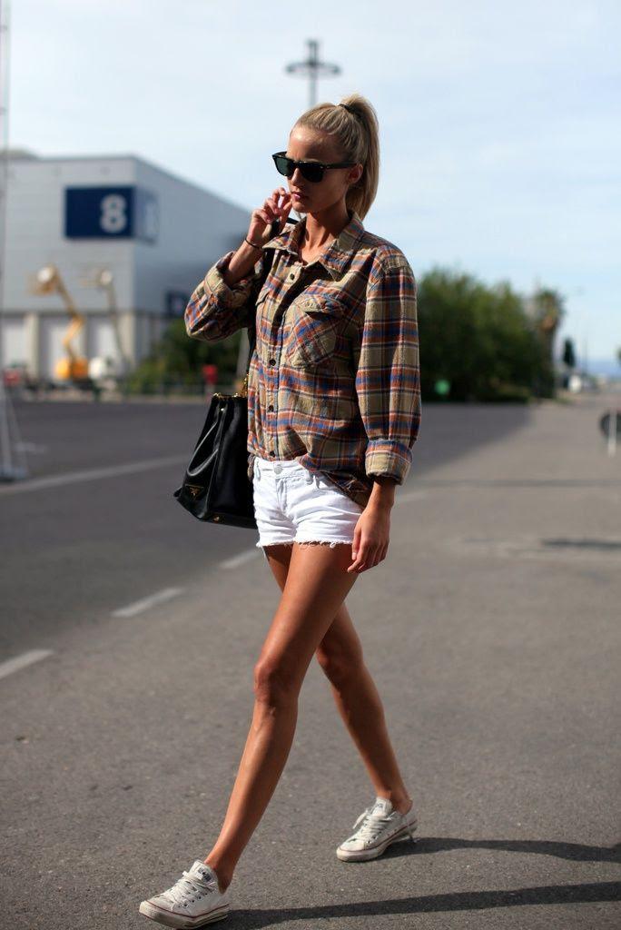 OUTFIT: white denim shorts, flannel shirt, white chuck taylors  - Cool Fashion
