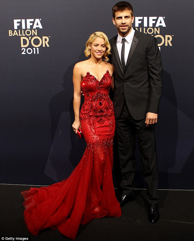 Handsome couple: Shakira and Gerard at the FIFA Ballon d'Or Gala 2011 in January