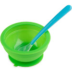 Brinware 8oz Glass Baby Bowl with Spoon Green