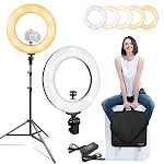 Limostudio 14 Inch Diameter Dimmable Continuous Round Led Ring Light Beauty Facial Shoot Smartphone Youtube Vine Self-portrait Light Stand Tripod