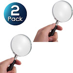 2 Pack Insten Compact Lightweight Handheld 5X Magnifier Jeweler Loupe Reading Magnifying Eye Glass For Home Office Travel - 75mm
