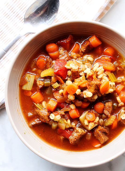 Slow Cooker Beef Barley Soup - Life In The Lofthouse