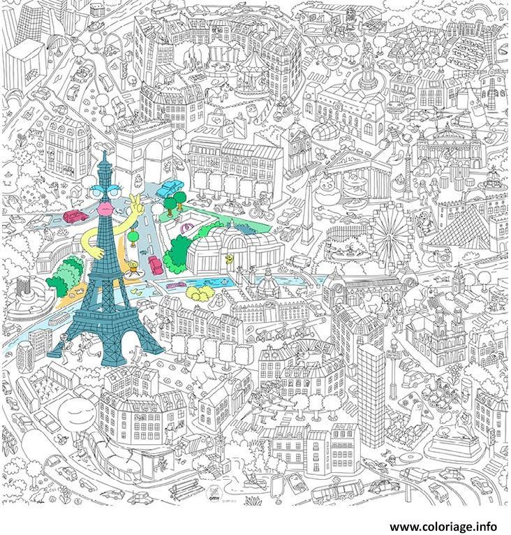 Coloriage Xxl Ville De Paris France 2 Jecoloriecom