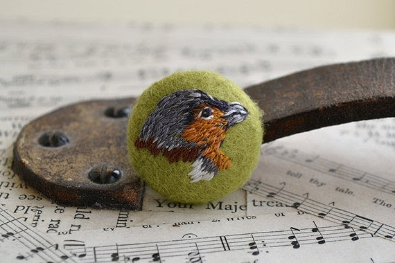 Hand Embroidered Chaffinch Bird Button 35 mm