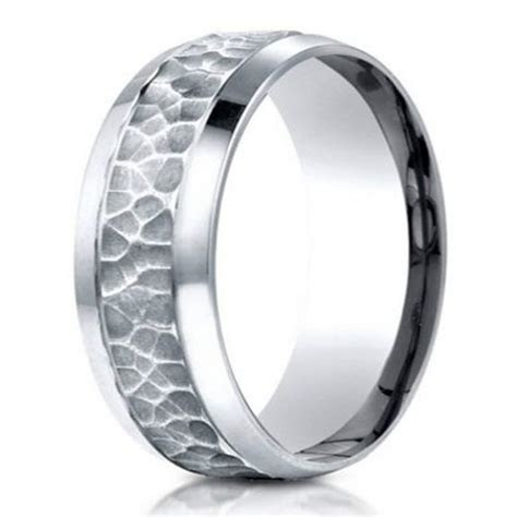 Hammered Finish Designer Men's 950 Platinum Wedding Band