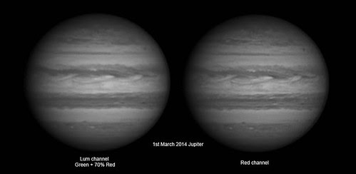 Luminosity and Red channel - 1st March Jupiter. by Mick Hyde