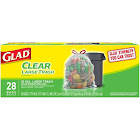Glad Trash Bag, Large, Clear, Drawstring, 30 Gallon - 28 bags