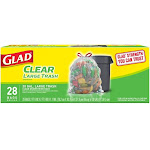 Glad Drawstring Bags, Large Trash, Clear - 28 bags