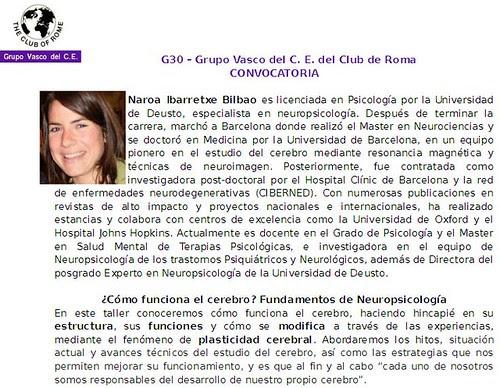 ¿Cómo funciona el cerebro?, conferencia del G30 del Grupo Vasco del Club de Roma