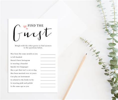 Printable Bridal Shower Game, Printable Find the Guest
