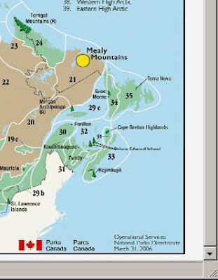 Parks Canada map Figure 2: Natural Regions and National Parks of Canada