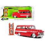 Jada 96986 1957 Chevrolet Suburban Stripes & Extra Wheels Just Trucks Series 1 by 24 Diecast Model Car Red & White