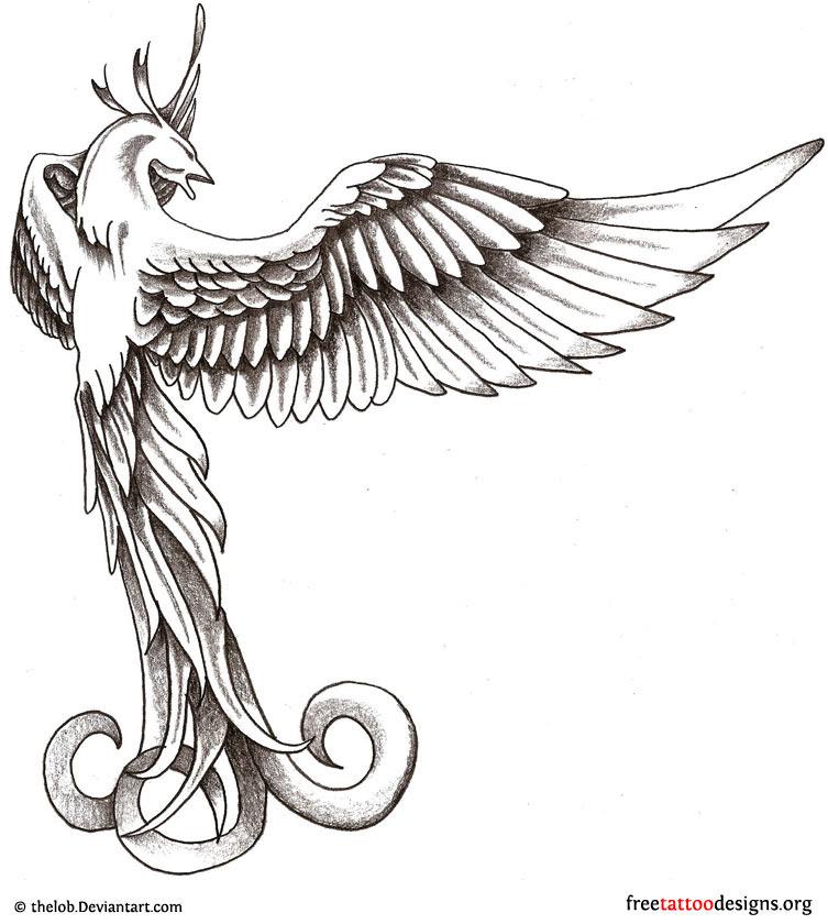 Amazing White And Grey Phoenix Tattoo Design