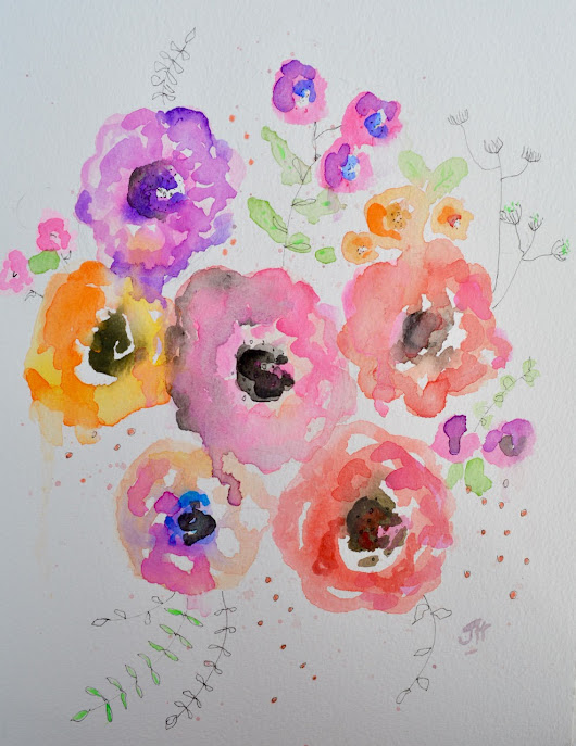 A Bouquet Of Love - original watercolour | watercolour sketch, feminine art, flowers, love, by Jane Hinchliffe