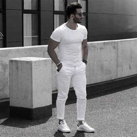 white outfits  men cool clean stylish