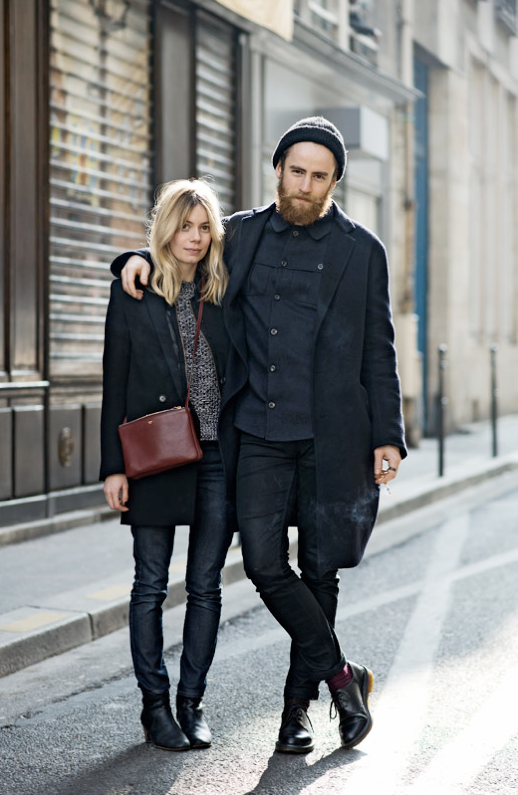 LE FASHION BLOG STREET STYLE STYLISH COUPLES BEARDS BABES LONG LAPEL JACKET COAT CELINE BURGUNDY CROSSBODY TRIP BAG KNIT MESH CHLOE SWEATER COATED SKINNY DENIM ISABEL MARANT DICKER BOOTS MENS STYLE VIA THE LOCALS DENMARK