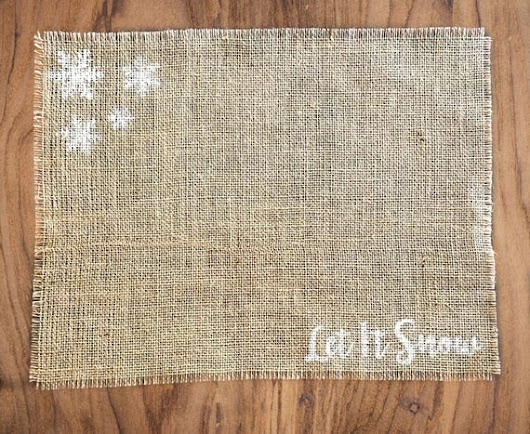 Christmas Burlap Placemats, Christmas Table Decor, Snowflake Placemats, Let It Snow, Christmas Place Settings, Rustic Holiday Table Decor