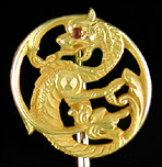 Art Noveau fiery chimera stickpin. (J9474)