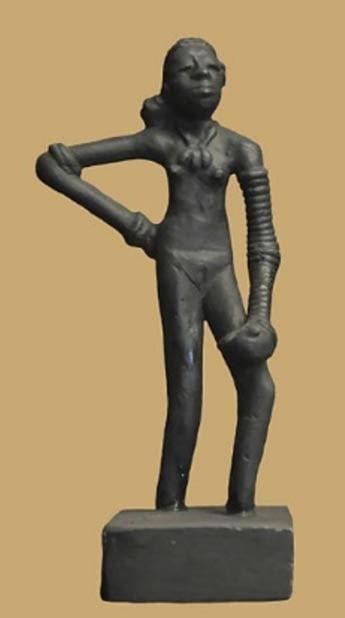 "Replica of the prehistoric ""Dancing Girl of Mohenjo Daro"" circa 2,500 BC"